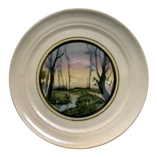 Mid-Century Handthrown Plate With Modernist Painting Studio Pottery Plate Signed Bush St.