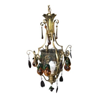 Early 1900s Single-Light Brass Chandelier With Colored Crystal Pendants