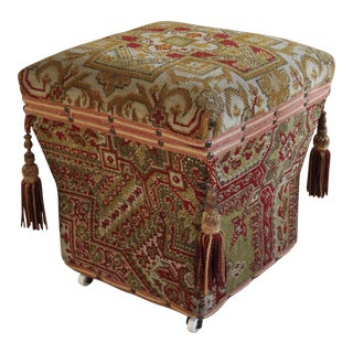 Antique Tapestry Footstool w/ Storage