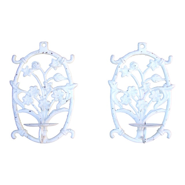 Painted White Cast Iron Floral Candle Sconces - 2 - Image 1 of 11