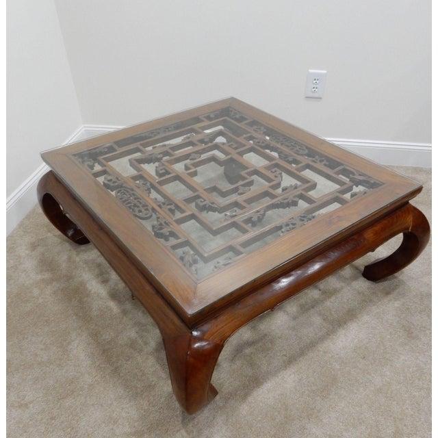 Chinese Carved Teak Wood Kang Table