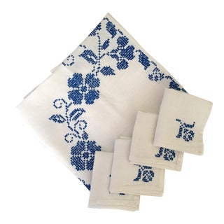 Blue & White Embroidered Napkins & Tablecloth - Set of 5