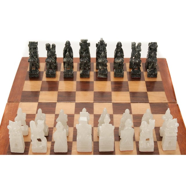 Chinese Green & White Jade Soap Stone Chess Set - Image 3 of 8