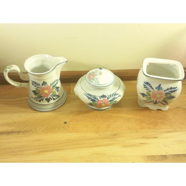 Pink Floral Ceramic Serving Set - Image 3 of 5