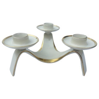 White and Gold Tri-Candle Holder