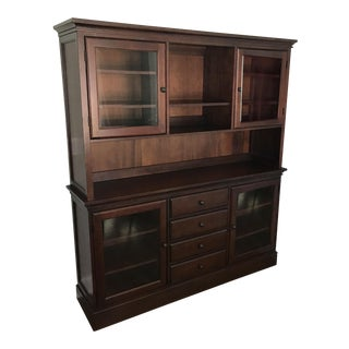 Pottery Barn Tucker Mahogany Wood Cabinet Buffet & Hutch
