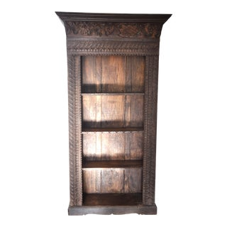 Hand-Carved Reclaimed Wood Open Bookcase