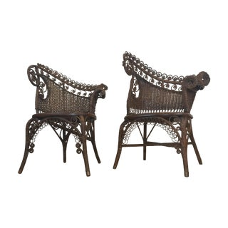 Antique Wicker Photographer's Chairs - A Pair