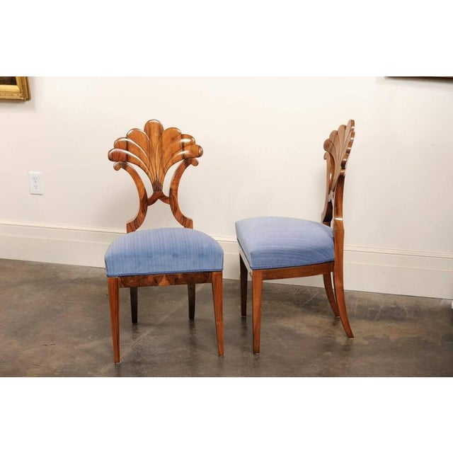 Pair of Austrian Biedermeier Fan Back Chairs with Light Blue Upholstery, 1840 - Image 9 of 10
