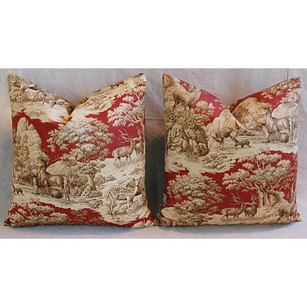 Designer French Woodland Deer Toile Pillows - Pair - Image 3 of 8