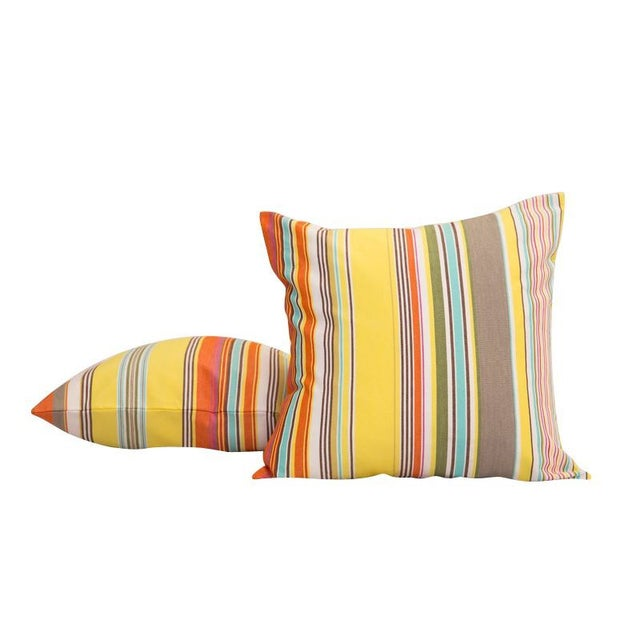 Modern Yellow French Striped Throw Pillow Chairish