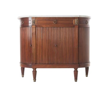 French 19th Century Mahogany Demilune Buffet with Marble Top