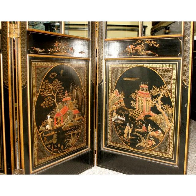 Jansen 3-Panel Chinoiserie Glass Screen - Image 3 of 9