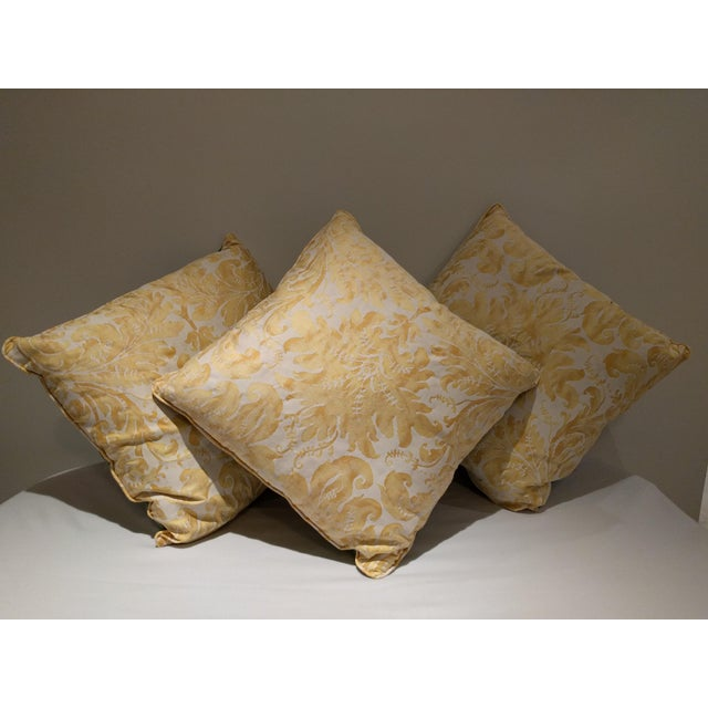 Image of Custom Italian Gold Damask Silk Pillows - Set of 3