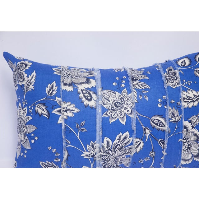 Black & White Floral on Blue Accent Pillow - Image 5 of 5