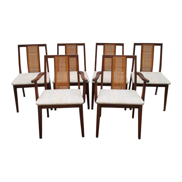 Mid-Century Hibriten Cane Back Chairs - Set of 6 - Image 1 of 11
