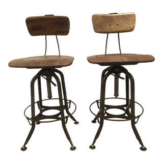 Toledo Adjustable High Back Bar Stools - A Pair