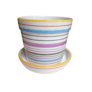 Tiffany & Co Striped Modernist Planter Pot & Saucer