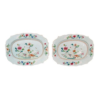 Chinese Export Famille Rose Porcelain Dishes - a Pair