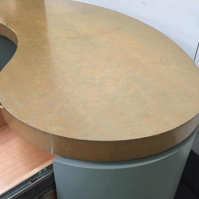 Image of Curved Retro Desk in Green & Gold