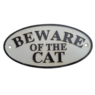"""Vintage """"Beware of the Cat"""" Sign"""