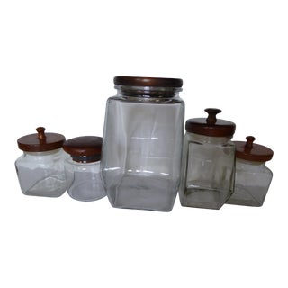 Vintage Wooden Top Glass Cannisters - Set of 5