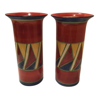 Clarice Cliff Early Geometric Vases - Pair