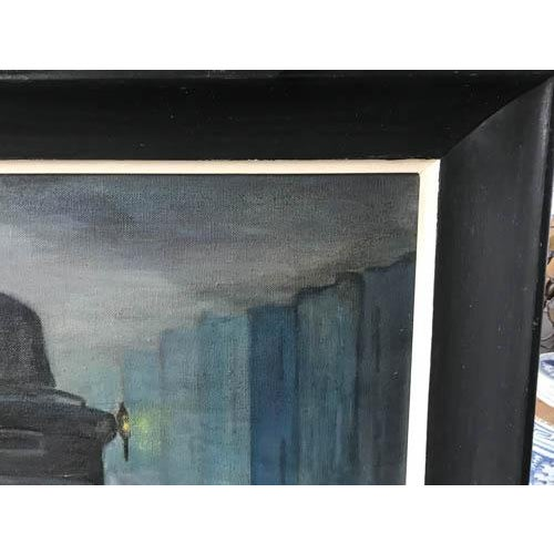 1962 Evening City Scape in a Carriage Oil on Canvas Painting by D Schwartz - Image 5 of 7