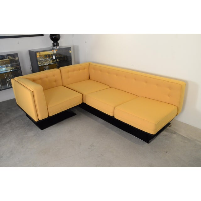 Upholstered in a New Yellow Knoll Wool MIM Roma (Ico Parisi) Sectional Sofa by Luigi Pellegrin - Image 10 of 10