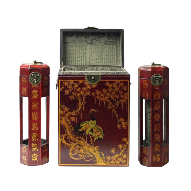 Chinese Red Leather Crane & Pine Motif Gift Box Set - 3 Pieces - Image 1 of 6