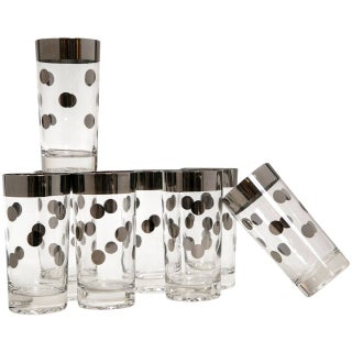 Mid-Century Polka Dot High Ball Glasses - Set of 8