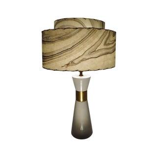 Transitional Mid Century Marblized Lamp