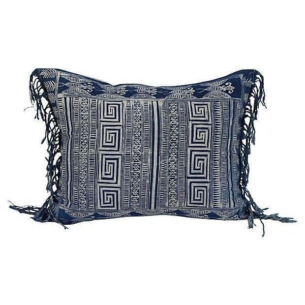 Indigo Batik Fringe Pillow - Image 1 of 5