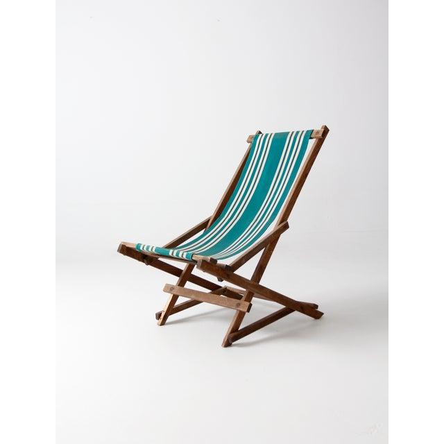 Vintage Green Striped Deck Chair Chairish