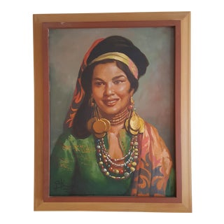 Filipino Woman Painting by Simon Saulog, 1959