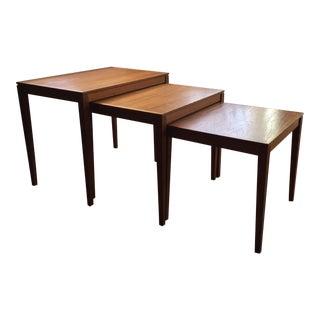 Bent Silberg Danish Teak Nesting Tables - Set of 3
