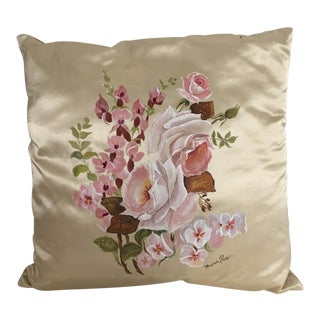 Hand Painted Silk Floral Pillow