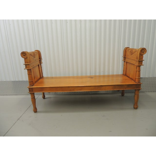 Image of Antique Pine Carved Wood Bench With Velvet Cushion