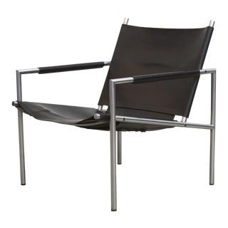 Martin Visser SZ02 Black Leather and Chrome Lounger