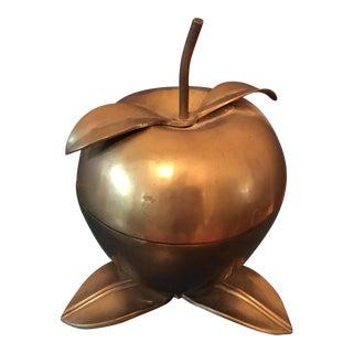 Vintage Solid Brass Apple Flip Top Box