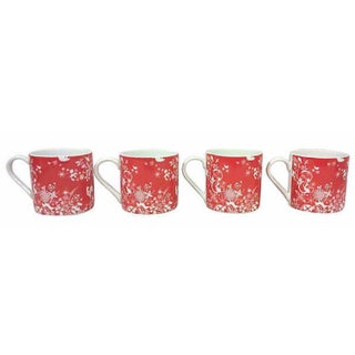 Red & White Porcelain Stag Mugs - Set of 4