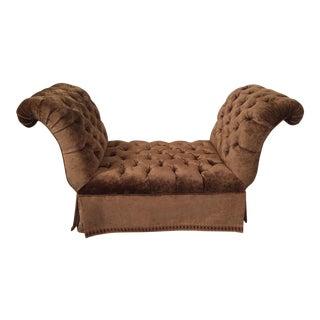 Velvet Tufted & Skirted Classic Rolled Arm Bench