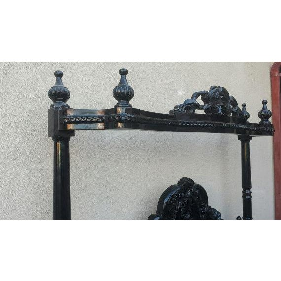 Image of French Louis XV Black Canopy Queen Bed