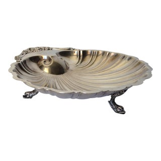 Silverplate Dolphin Footed Fan Shell Platter