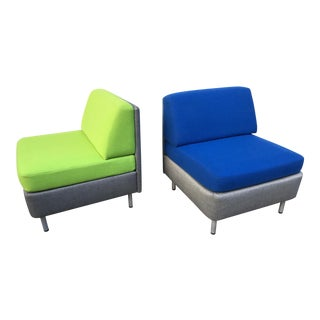 Gunlocke Modern Upholstered Lounge Chairs - A Pair
