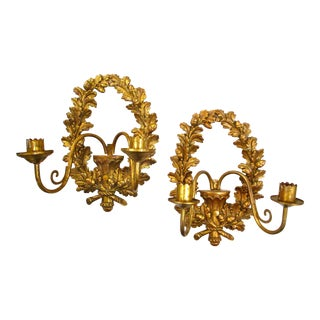 Gold Laurel Wreath Sconces - A Pair