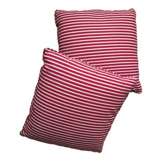 Red Striped Throw Pillows- A Pair