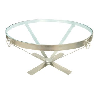 Iron Metal Base Coffee Table With Round/Circle Glass Top