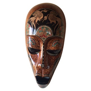 Bali Tribal Mask With Mother of Pearl Inlay