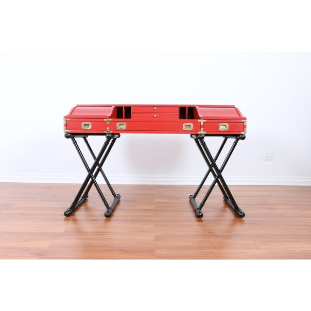 Red Hollywood Regency Campaign Executive Desk - Image 2 of 6
